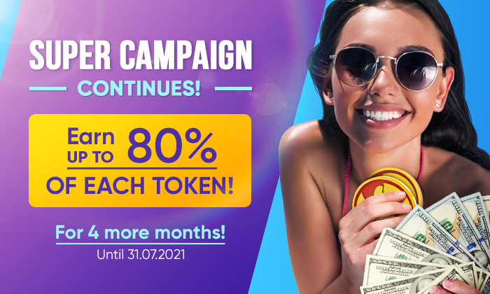 HIGH PAYOUT TIME CONTINUES! GET UP TO 80% OF EACH TOKEN!