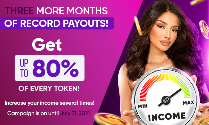THREE MORE MONTHS OF RECORD PAYOUTS! GET UP TO 80% OF EACH TOKEN!